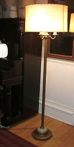 Antique Art Deco Torchiere Candelabra Floor Lamp Glass Base Both Shades