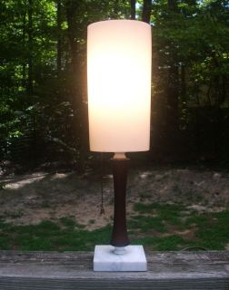 Vintage Art Deco Table Desk Lamp Marble Base Wood Body White Thick Plastic Shade