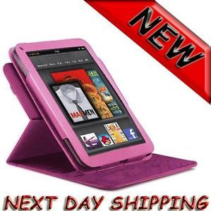 360 Degree Rotary Leather Case fo Kindle Fire Landscape Portrait View Light pink