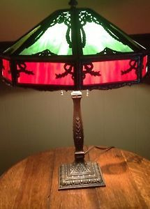 Antique Slag Glass Lamp Wilkinson Base Empire Shade Pittsburgh B H Art Craft