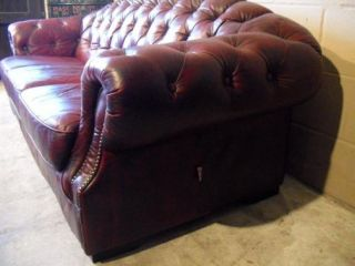 Chesterfield Leather Sofa English Full 3 Seat Tufted Model