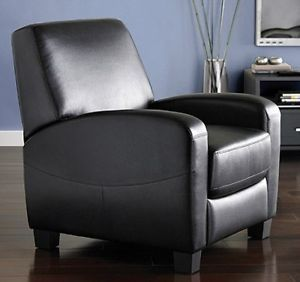 Black Faux Leather Recliner Reclining Contemporary Arm Chair Ships Free