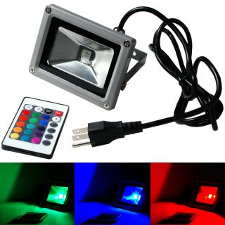 10W 20W 30W 50W LED Flood Light Outdoor Landscape Lamp Cord Plug RGB Lighting