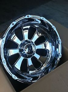 "22"" 8x165 Chrome Rims Chevy GMC Dodge Hummer H2 22x14 KMC XD Armour"