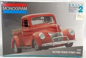 1 24 Scale '40 Ford Pickup Street Rod Model Kit Skill 2 Monogram 2720