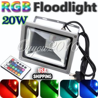 20W RGB Color Changing Outdoor Remote Control LED Flood Light 85 265V US New