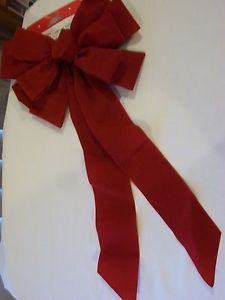 Large Holiday Time Christmas Red Velvet Bow Indoor Outdoor Wreath Fence Mailbox