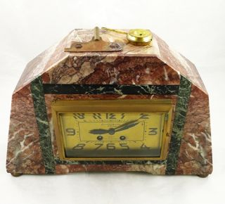 Vintage Marble Clock French Garniture Art Deco Mantle Comptoir General Paris M