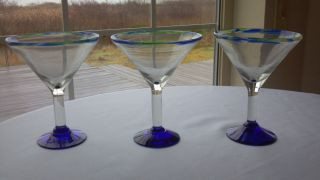 Mexican Hand Blown Glass Margarita Martini Glasses Green Cobalt Blue Rim