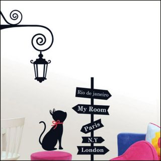 Cross Road Cat Wall Door Decor Decals Stickers LWST15