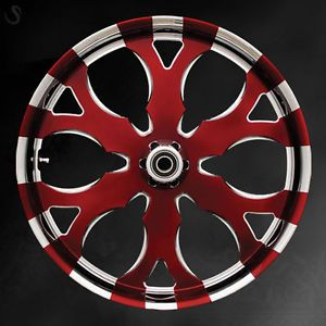 "Custom 26"" Wheel Package for Harley Candy Red Chrome Rims"