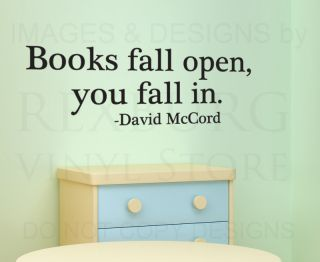 Wall Quote Decal Sticker Vinyl Books Fall Open You Fall in Reading School S27