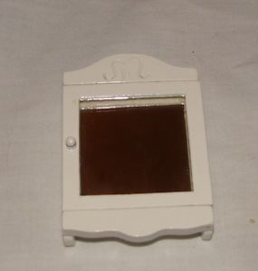 Dollhouse Miniatures Doll House Bathroom Wooden Medicine Cabinet Chest Mirror