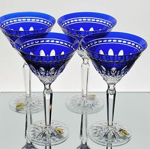 4 Waterford Clarendon Cobalt Blue Cased Cut to Clear Crystal Martini Glasses New