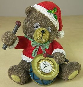 Miniature Clock Quartz Movement Timepiece Christmas Teddy Bear Playing Drum