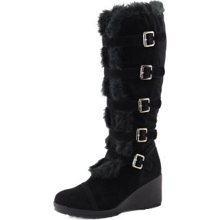 Black Faux Fur Mid Knee High Boots Platform Wedge Heel Buckle Strap Fashion Shoe
