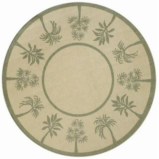 Direct Home Textiles Four Seasons Natural Sage Green Palm Tree Rug
