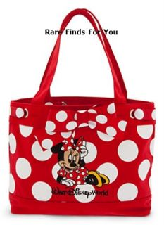 Walt Disney World Theme Parks Minnie Mouse Red Polka Dot Tote Bag New