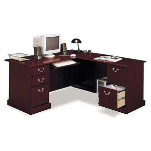 "L Shape Office Furniture Corner Desk 71"" Cherry Wood Finish Executive Collection"
