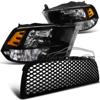 2009 2011 Dodge RAM 1500 Truck Headlights w Mesh Front Grill Black