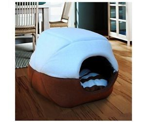 New Foldable Dog Bed 40x35x30cm Cat House Sky Blue Brown Fleece Pet Beds