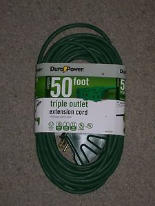 TWO 50 FT OUTDOOR TRIPLE OUTLET GREEN 16 3 GAUGE EXTENSION CORD 13 AMP