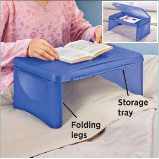 Blue Kid Activity Center Lap Desk Organizer Craft Supply Storage Bed Tray Table