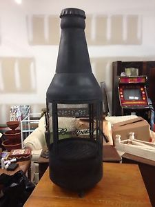 RARE Budweiser Bottle Shaped Fire Pit Grill Outdoor Beer Brewery