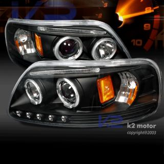 1997 2003 Ford F150 LED Strip Halo Projector Headlights Black Set