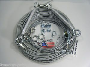200 ft Aerial Dog Trolley Run Leash Harness Cable Large Heavy Duty Big Dogs
