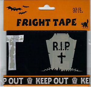 "Haunted House Fright Tape ""Keep Out"" Rip 3""x 30' ft Long New Halloween Prop"