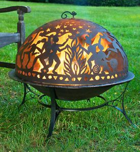 Unique Full Moon Party Fire Pit Set Outdoor Fireplace Art Cover Copper Finish
