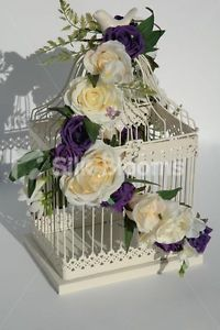 Ivory Purple Rose Shabby Chic Bird Cage Wedding Table Display