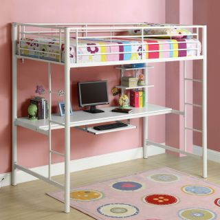 New Kid's Youth Metal Loft Bunk Bed White Twin Workstation Desk