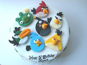 2D Edible Angry Birds Toppers Fondant Set of 7 Sale Sale
