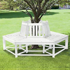 Home Outdoor Half Wrap Wooden Tree Bench Furniture Patio Garden Backyard White