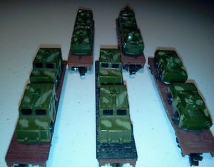 10 Military Vehicles 5 N Scale Flat Beds