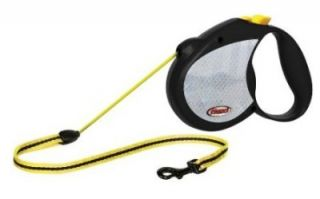 Flexi Reflective Retractable Dog Leash 16' w Neon Yellow Lead Up to 44 Medium