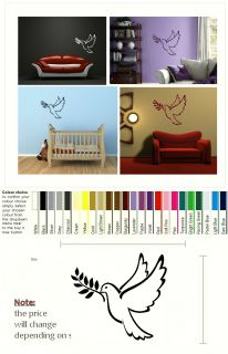 Dove Bird Art Wall Sticker Decal Transfer Decor Graphic Stencil SML Blk BN28