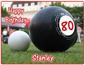 Personalised Outdoor Lawn Bowls Icing Cake Topper