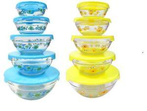 Decorative Glass Bowls Storage Mixing Bowls in Blue Yellow 5 Bowls 5 Lids