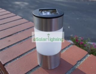Set of 4 Outdoor Stainless Steel Short Tube Solar Light