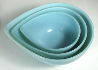 Delphite Fire King Turquoise Nesting Bowls 3 Anchor Hoc