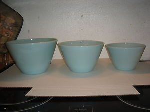 Vintage Fire King Blue Turquoise Nesting Bowls Set of 3 Fire King Mixing Bowls