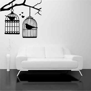 Bird Cage Branch Tree Birds Love Wall Art Stickers Decal Mural Stencil Transfer