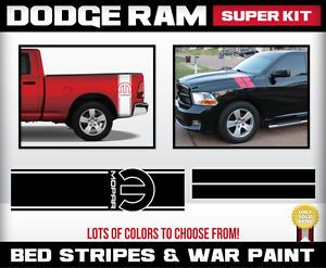 Dodge RAM Super Kit War Paint Stripes Hash Marks Bed Side Stripes Mopar RAM