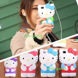Colorful 3D Cute Silicone Hello Kitty Case Cover Skin for iPhone 4 G 4G 4S