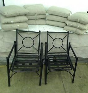 Hampton Bay Barnsley 2 Patio Chairs with Textured Silver Pebble Cushions