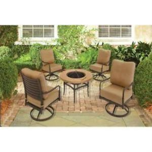 Hampton Bay Madison 5pc Patio Fire Pit Chat Set w Textured Golden Wheat Cushions