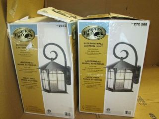 2 Hampton Bay Wall Mount 3Lt Outdoor Aged Iron Lanterns